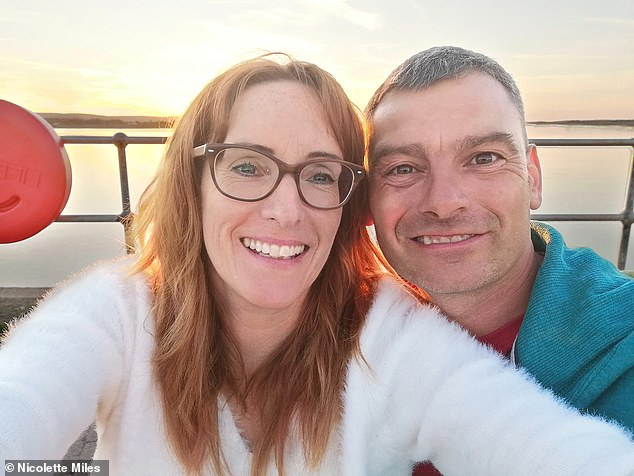 Nicolette Miles, 47, a travel agent manager from Devon, connected with Tony Jones, 45, pictured together, an hour after signing up to the dating app Badoo