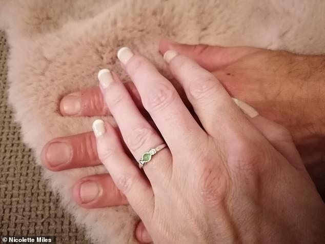Tony had the romantic ring designed with two diamonds either side from his mother's engagement ring, who's sadly passed