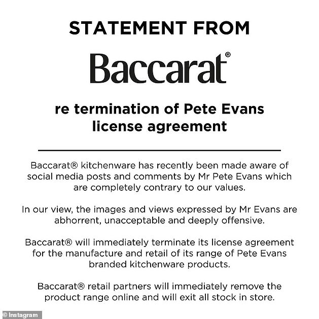 Speaking up:The majority of these companies shared statements on Monday and Tuesday, after Pan Macmillan's initial decision to cut ties led to a mass exodus. Pictured: a statement from Baccarat