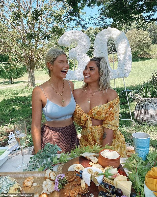 Hip hip hooray!Making the most of the exemptions, Noni decided to meet her friends and relatives within the coastal town of Byron Bay. Pictured with BIP co-star Megan Marx