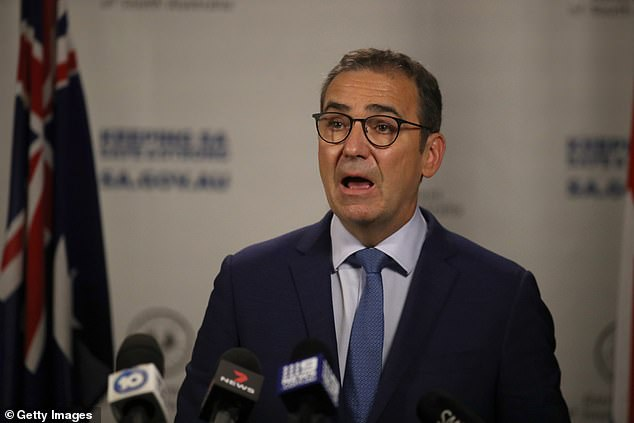 Bad news: South Australian Premier Steven Marshall (pictured) announced on Wednesday the state would enter lockdown at midnight to combat a 'particularly sneaky' and 'highly contagious' strain of coronavirus