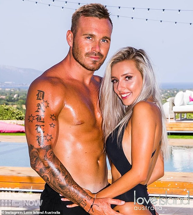 Former flame: Erin rose to fame on Love Island Australia in 2018. Picgured with co-star Eden Dally