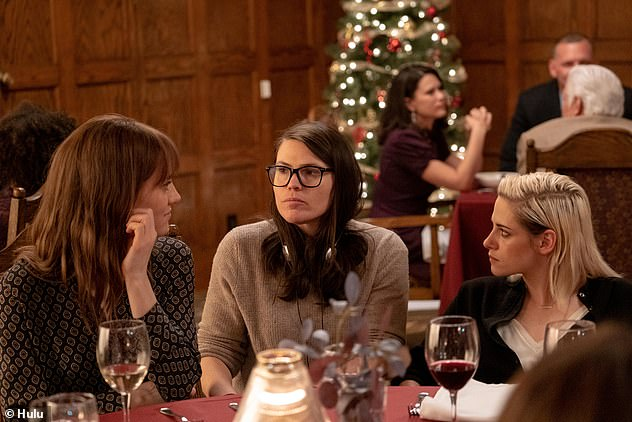 At work: Director Clea DuVall with Kristen and her co-star Mackenzie Davis in Happiest Season