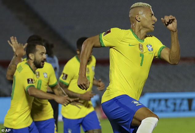 Richarlison netted for Brazil on the stroke of half-time as they overcame Uruguay 2-0