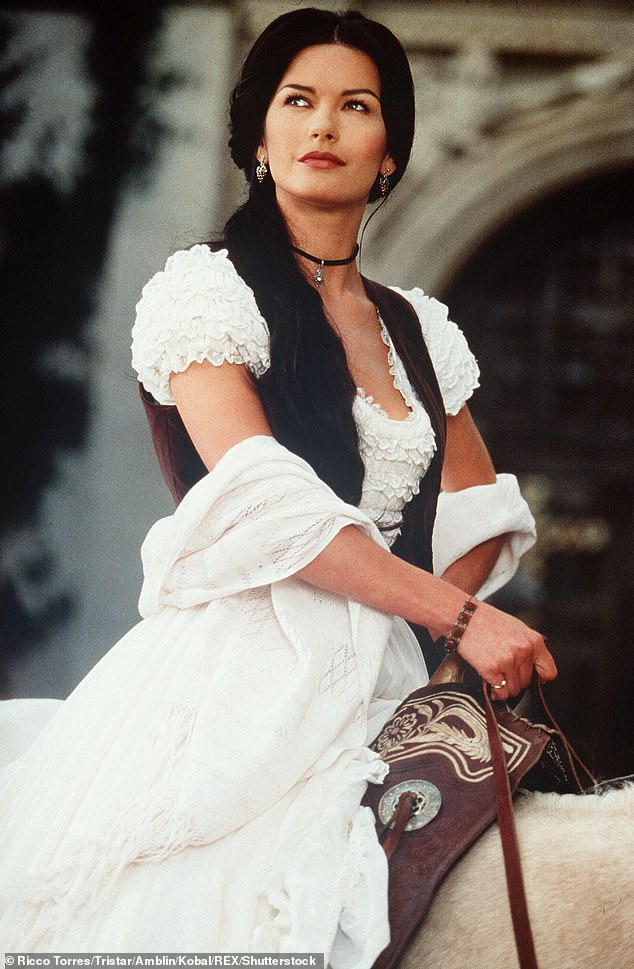 Wowed!In the clip, Michael revealed that he first set eyes on Catherine during her performance as Elena Montero in the 1998 film The Mask Of Zorro (pictured)