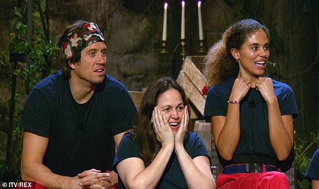 In the audience: Vernon Kay, Giovanna Fletcher and Jessica Plummer look on in horror