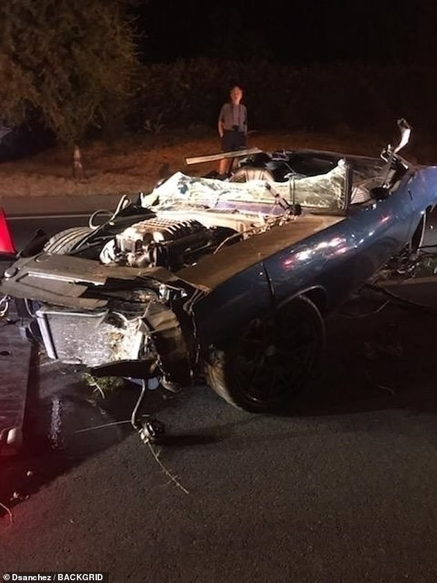 Tragic:The media personality suffered from multiple back injuries and underwent surgery after his car rolled into an embankment in California last September (pictured)
