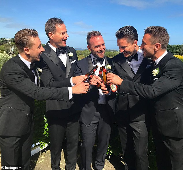 All-star lineup:Channel Nine reporter Tom Steinfort (second from left) was best man, while The Project's Tommy Little (far right) was one of the groomsmen