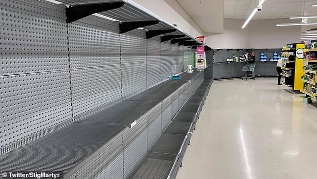 Panic shopping (bare shelves pictured) was sparked after Adelaide was sent into a strict six-day lockdown on Wednesday in response to a growing cluster in the city's north