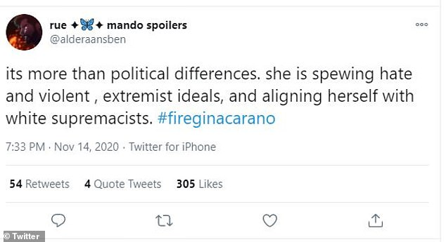 Political: Another fan, @alderaansben, added, 'its more than political differences. She is spewing hate and violent, extremist ideals, and aligningn herself with white supremacists,' adding #FireGinaCarano