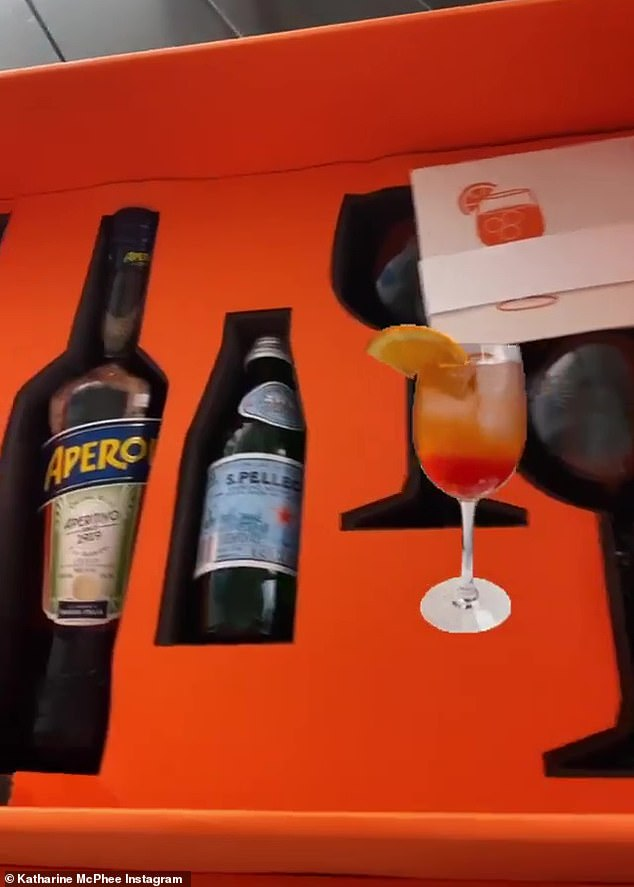 Subtle reveal: The actress confirmed her pregnancy after receiving a gift from Italian aperitif brand Aperol: 'I won't be drinking this for a while. Wink, wink. But I'm so excited'