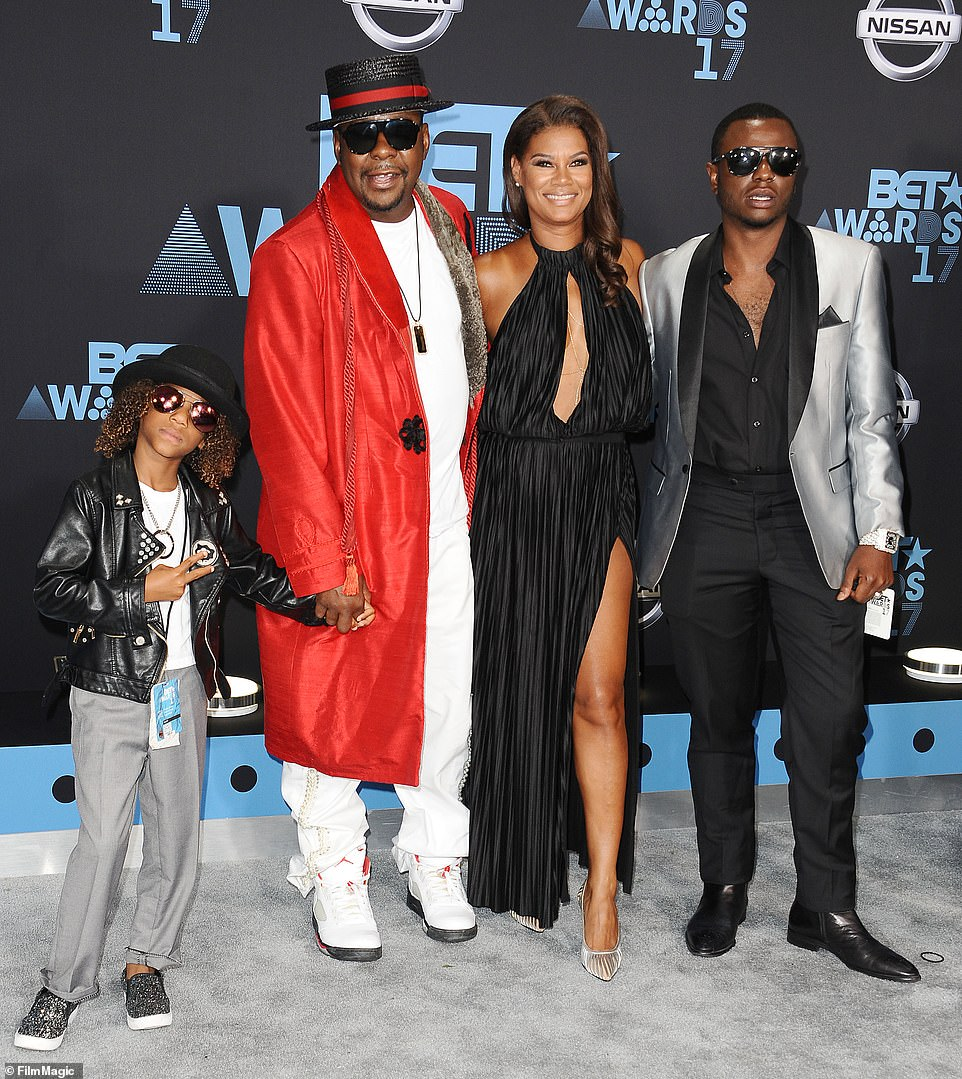 Singer Bobby Brown, wife Alicia Etheredge and sons Cassius Brown and Bobby Brown Jr. attend the 2017 BET Awards at Microsoft Theater on June 25, 2017 in Los Angeles, California