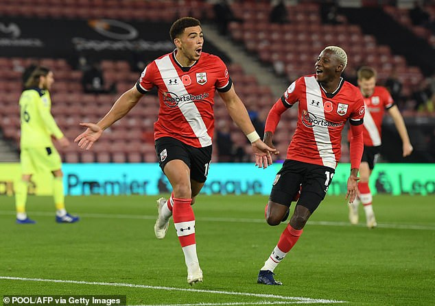 Che Adams celebrates opening the scoring in Southampton's win over Newcastle United