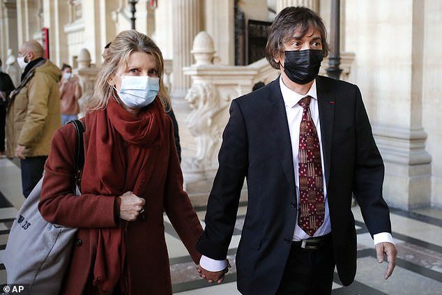 Mark Moogalian, 56 (right), who was shot in the neck disarming Paris train terroristAyoub El Khazzani in 2015, said he jumped into action to protect wife Isabelle (left)