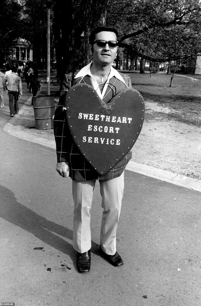 A man advertises his sexual services in a Boston park, 1974. Godlis attended school at Boston University before he fell in love with photography and moved back to New York City. His forthcoming book features a foreword written by Luc Sante who noted that very few of Godlis's subjects put on a show for the camera, but 'among those who do are the Southie wise guys he photographed in Boston...They¿ve got the trichoperms and the double breasted car coats and they stand around ominously, making believe they¿re not just loitering the way they have since they were kids'