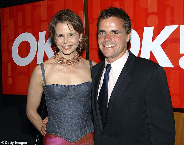 Revealing all: This week, Nicole Kidman's sister Antonia broke her silence on her divorce from late husband Angus Hawley in a rare interview on Studio 10 and revealed how she relied on her famous family for 'support' throughout the separation. Pictured with Angus in Sydney in 2004