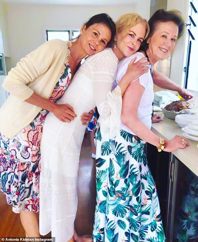 Support:'I had a lot of family support too, so that assisted,' Antonia said. Pictured with sister Nicole Kidman and their mother Janelle