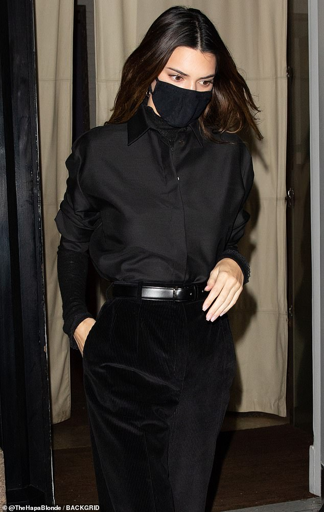 Back in black: Kendall Jennermatched with friend Bella Hadid in head-to-toe black Thursday, as they stepped out for a chic dinner outing