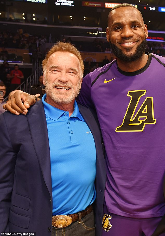 Business partners: The True Lies star is getting back to business once again, teaming up with LeBron James in investing in tequila and mezcal brand Lobos 1707 (pictured in November, 2018)