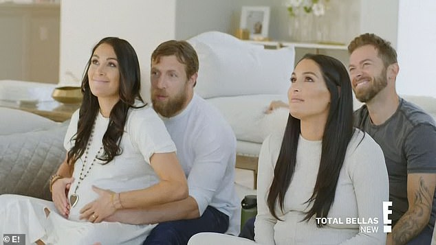 Hypnobirthing class:Nikki and Brie then joined their partners for a hypnobirthing class, streamed over Brie's TV