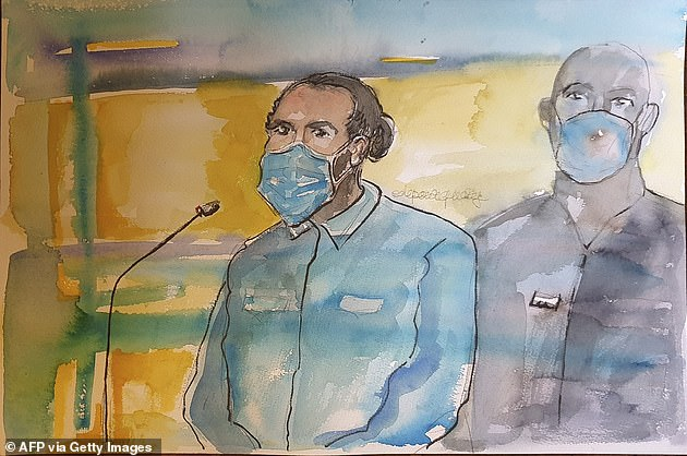 Pictured: A courtroom sketch ofMoroccan gunman Ayoub El Khazzani made on November 16.El Khazzani was subdued by several passengers after he appeared from a train toilet carrying an AK-47 and a bag full of ammunition