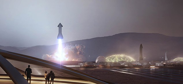 Elon Musk has long spoke about plans to construct a colony on Mars ¿ from sending three Starships a day to building a Starlink internet constellation to a housing plan with glass domes (pictured is artist's impression)