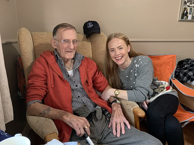 A survey of nearly 3,000 people has found70 per cent of people have not been able to visit loved ones in person since March - whilea third were offered no alternative to in-person visits. Edward Holmes, 81, hasn't been able to see his granddaughter Alysha Astley, since lockdown began