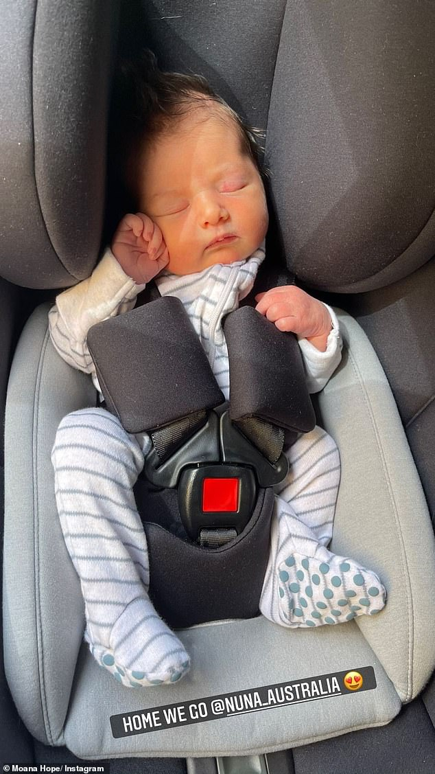 Bringing home baby: Moana and Isabella welcomed their first child, daughter Svea Hope Carlstrom, in November and the couple were delighted to take their bundle of joy home from hospital that same week