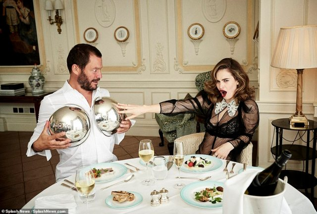 Jokers: Dressed to the nines, the pair drink champagne, devour oysters and joke around with the silverware
