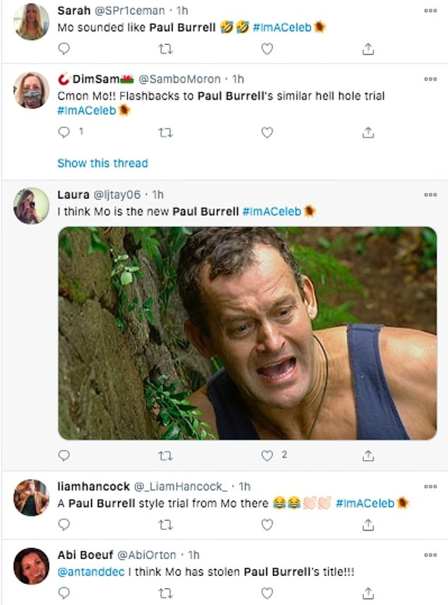 Throwback: Some viewers said Mo's trial reminded them of Paul Burrell's attempt at the Hell Holes challenge in 2004