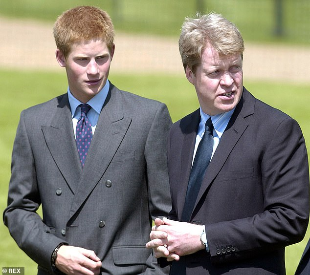Prince Harry is understood to be in close contact with his uncle Earl Spencer (pictured together in 2004), who has accused the BBC of 'sheer dishonesty' for showing him falsified bank accounts ahead of the 1995 interview that sent shockwaves through the royal family