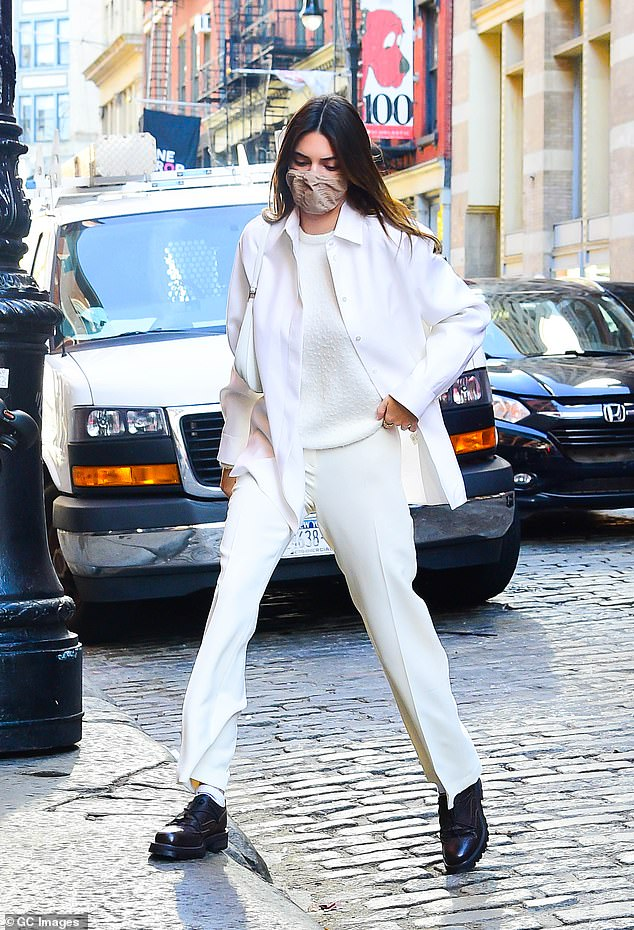 Monochromatic moment:Earlier in the day, Kendall was spotted looking marvelous in a monochromatic get-up, including trousers from Musier Paris.