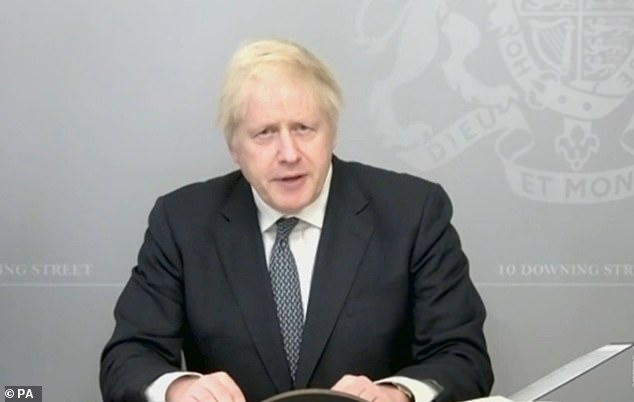 Intervention from the two former Prime Ministers follows reports that Mr Johnson (pictured) was planning on slashing the UK's £15 billion international development budget to help cover the UK's £210billion Covid-19 costs