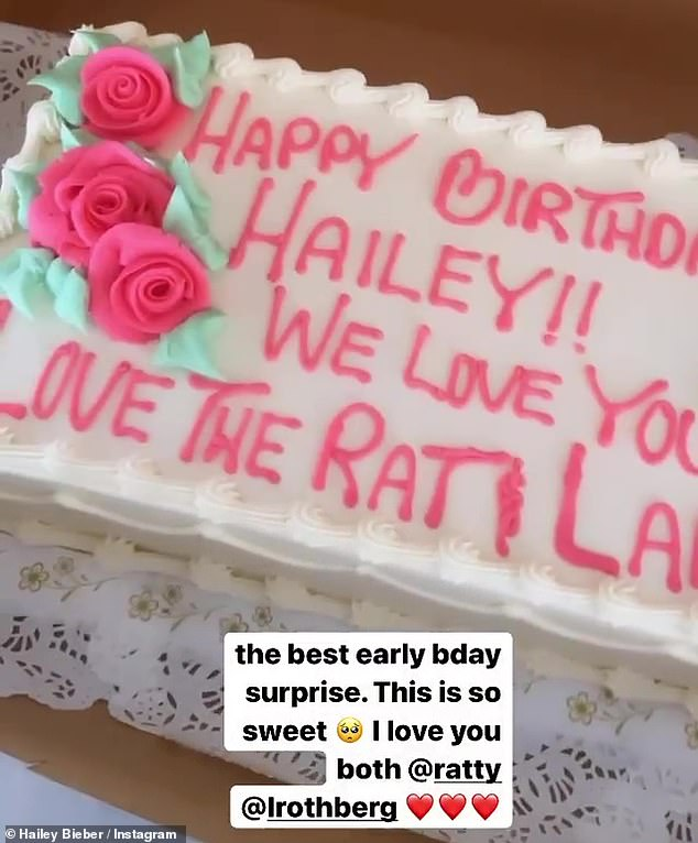 Birthday girl: Hailey later shared a glimpse of a birthday cake from friends Michael D Ratner and Lauren Rothberg