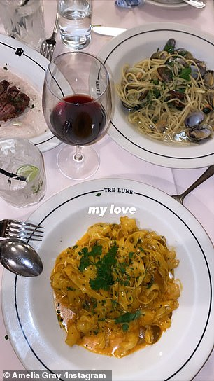 Dinner for two: They have also enjoyed several dinner dates at the Italian restaurant Tre Lune in Montecito California