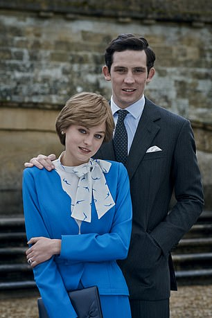 Pictured is Emma Corrin as Princess Diana and Josh O'Connor as Prince Charles in Netflix's The Crown