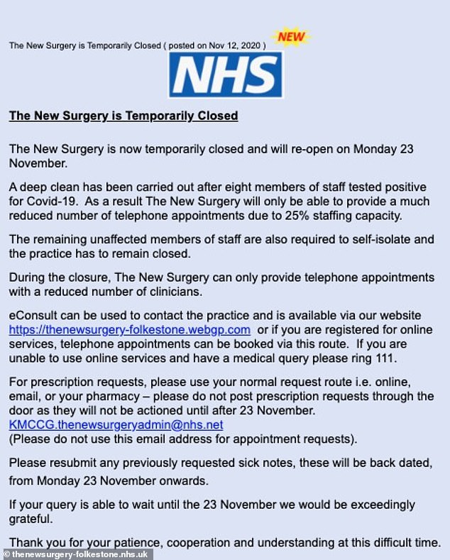 Locals blasted the surgery for not doing more to protect its patients following the outbreak. Just the week before up to 300 people are believed to have visited the clinic for a flu jab. Pictured, a post on the surgery's Facebook page