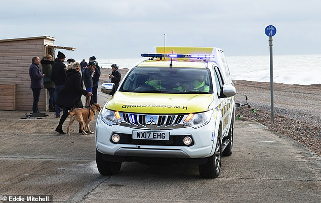 HM Coastguard units have been searching the shore in case the two missing crewmen made it ashore