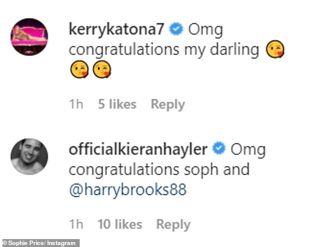 Kind words: Katie's pal Kerry Katona took to the comments to congratulate Sophie, while the model's ex husband Kieran Hayler also sent his well wishes