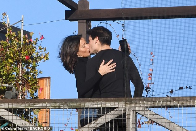 sealed with a kiss: Melanie Sykes was spotted enjoying a passionate smooch with her toyboy gondolier loverRiccardo Simionato in Venice on Saturday