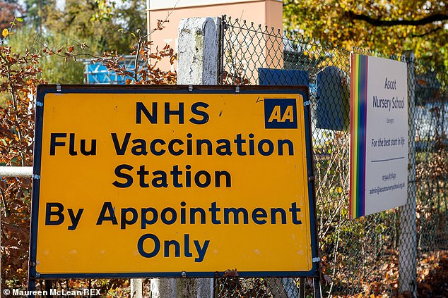 Sign of the times: NHS flu station in a car park at the Ascot Racecourse. Pharmacies and GP surgeries across England have been unable to get vital supplies of flu jabs since early October