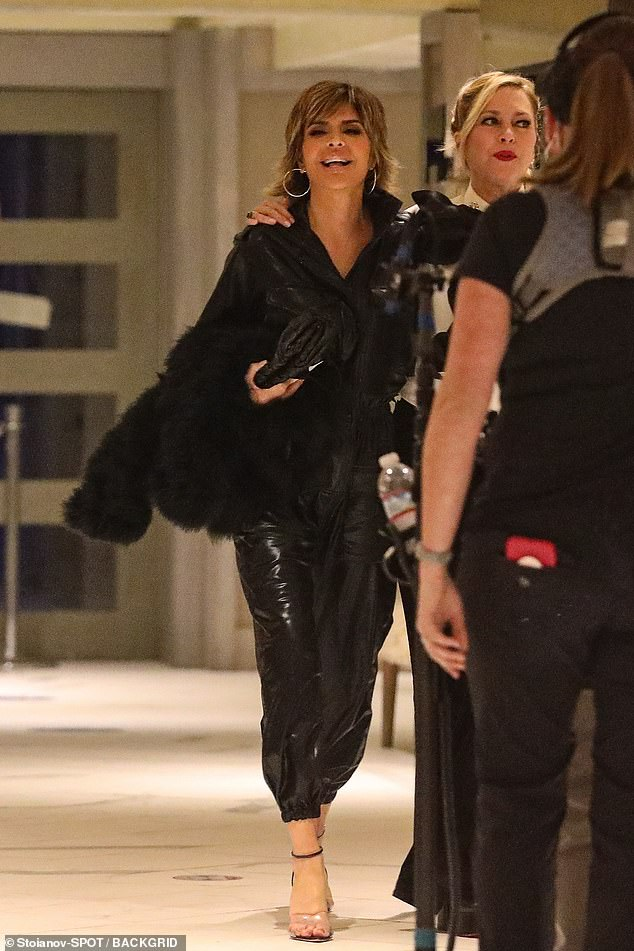 Bliss: Lisa Rinna appeared to be in her happy place as she filmed for the new season with castmembers at the Huntley Hotel in Santa Monica on Friday night
