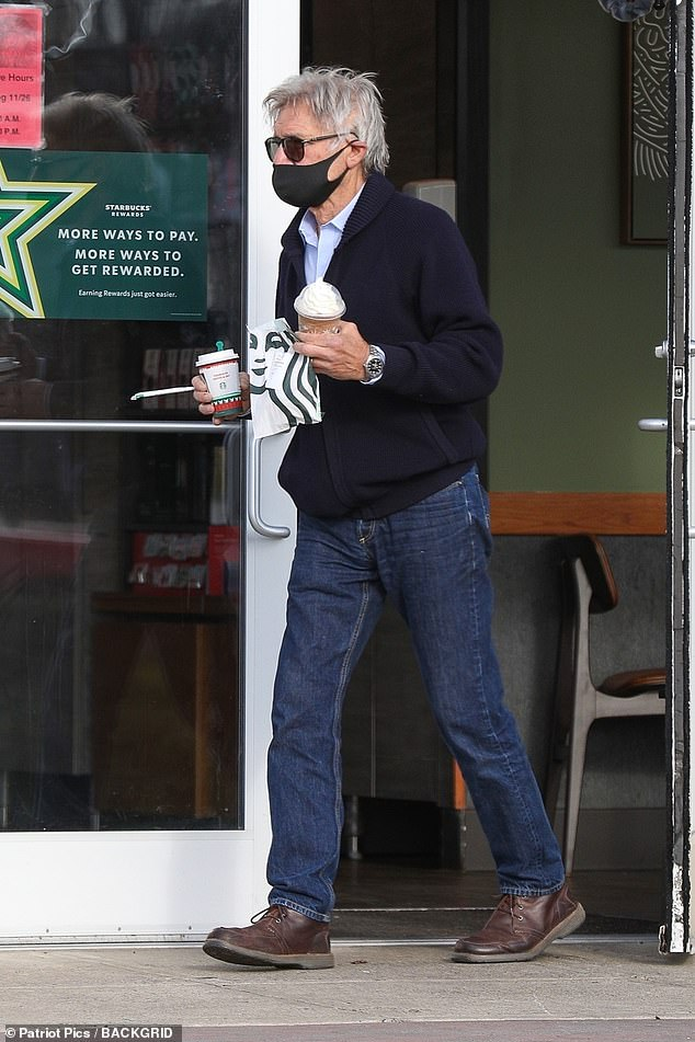 Stocking up: Later on Saturday, he was spotted again in Massachusetts, closer to Amherst, as he stopped by a Starbucks for some refreshments