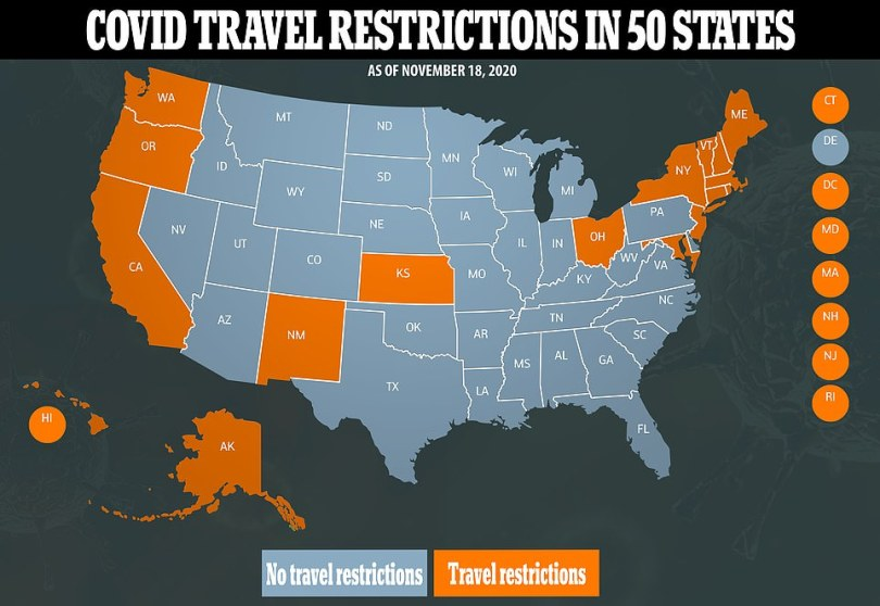 Fears of a Thanksgiving surge have prompted many states and cities to impose near-lockdowns or other restrictions ahead of the holiday - typically the busiest travel day of the year in the United States