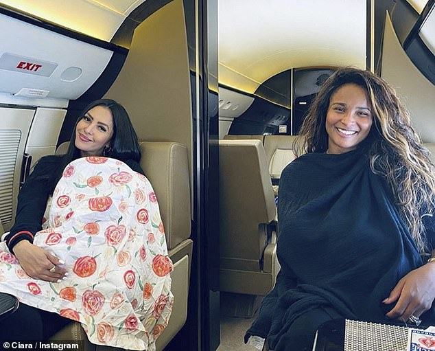 Mom life: On their way to a Mexican getaway Ciara shared a photo of she and Bryant nursing their children on a jet; pictured September 30th