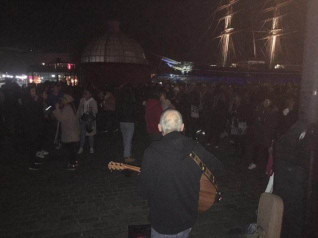 A huge crowd of lockdown-defying Londoners have gathered along the River Thames in Greenwich despite the nation-wide second lockdown (pictured)