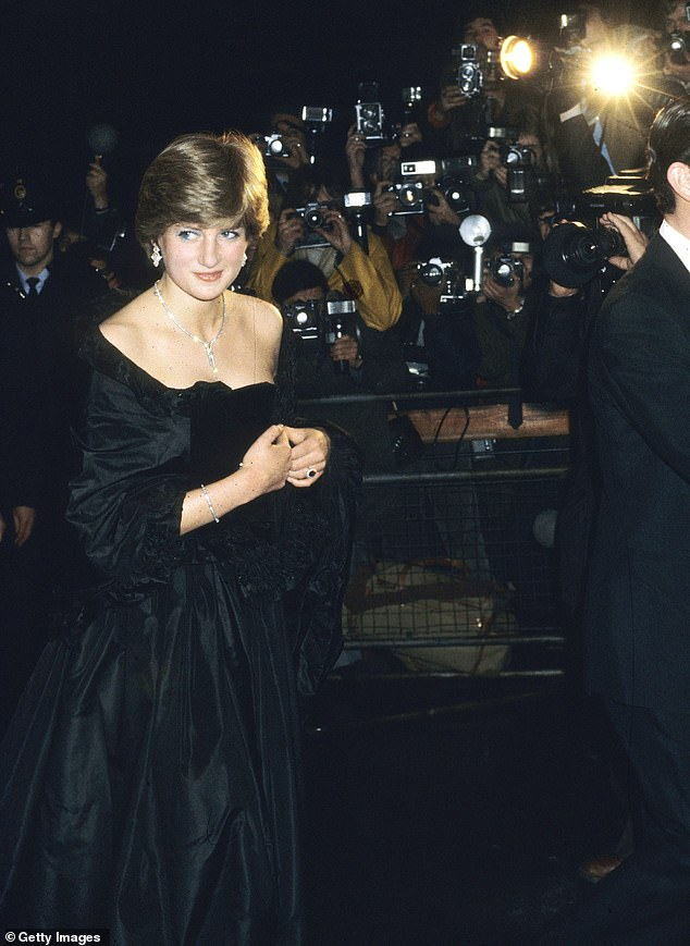 Princess Diana turned heads when she wore this black taffeta dress at a fundraising concert at Goldsmith's Hall in aid of the Royal Opera House in March 1981