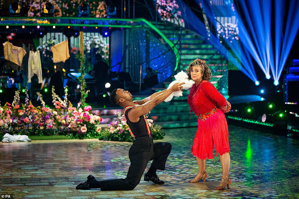 Damsel in distress: Caroline Quentin and pro partner Johannes Radebe danced the cha cha to Rescue Me, with Caroline licking Johannes during the performance