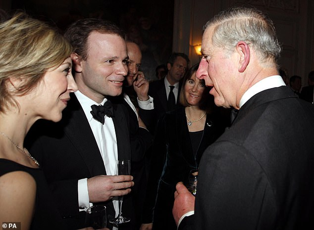 Former flame:Ms Gosling, 49, was married to spin doctor Sir Craig Oliver for 18 years before they split in 2014 (the former spouses are pictured with Prince Charles in 2011)