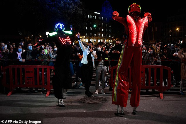 A huge party was held with performances from dancers wearing lit-up outfits as jubilant locals partied the night away